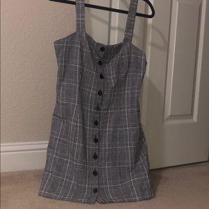 NWT f21 plaid grey dress